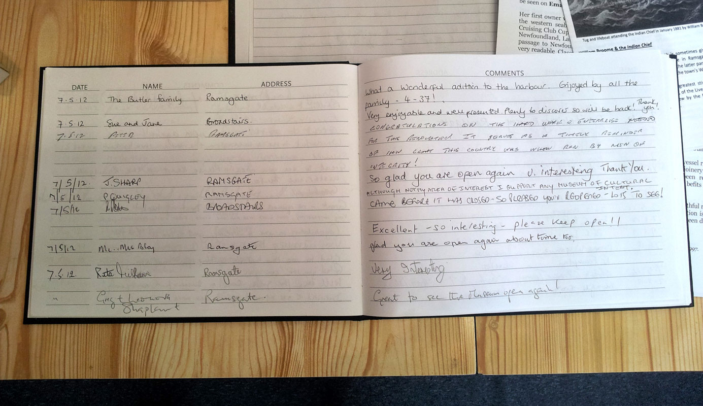 Ramsgate Maritime Museum visitors book